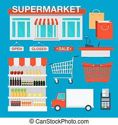 Supermarket Building and Interior with Products, Shopping Basket and Cashbox