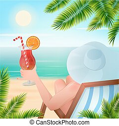 Summer Tropical Holiday. Woman with a Cocktail on the Beach under Palm Trees