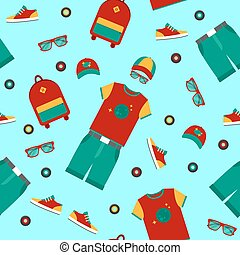 Urban Lifestyle Clothing and Accessories Seamless Pattern