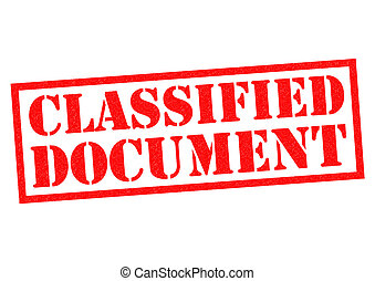 CLASSIFIED DOCUMENT red Rubber Stamp over a white background...