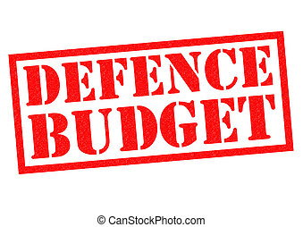 DEFENCE BUDGET red Rubber Stamp over a white background