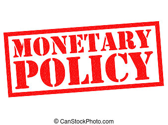 MONETARY POLICY red Rubber Stamp over a white background