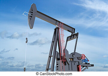 Oil Pumpjack isolated on blue sky