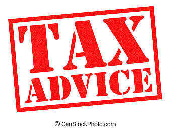 TAX ADVICE red Rubber Stamp over a white background.