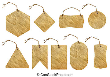 Set of brown wooden tag - Set of brown wooden tag with rope...