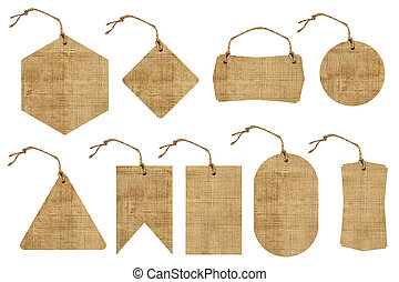 Set of brown paper tag with string isolated on white...