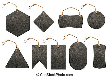 Set of leather tag with rope isolated on white background...