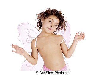 Cute girl with angel wings - Cute mulatto girl with pink...
