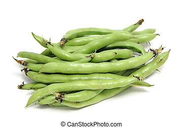 broad bean - closeup of some broad bean pods with the beans...
