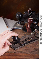 Tapping morse code - Hand tapping morse code on an antique...