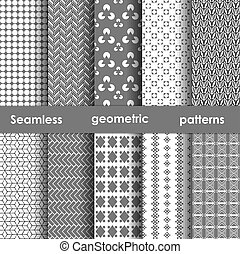 Set of 6 monochrome seamless patterns