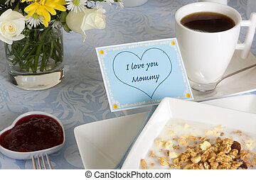 Coffee for mommy - Mothers day breakfast with coffee,...