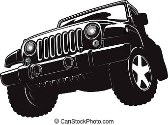 Black and white illustration of offroadster.