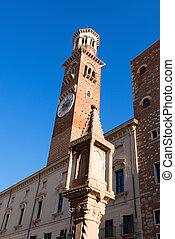 Lamberti Tower in Piazza Erbe - Verona Italy - Medieval...