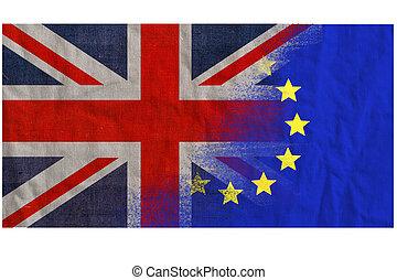 EU UK referendum, textured flags merged - Voting date June...