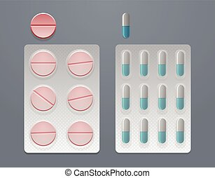 Vector set of pills and blister packs