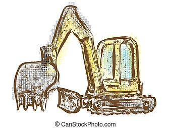 Digger abstract multicolor machinery on white background
