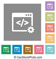 Web development square flat icons - Web development flat...