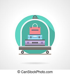 Baggage cart detailed flat color vector icon - Hotel luggage...