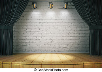 Black curtain of classical theater, 3d rendered