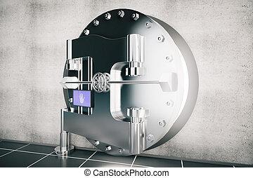 metallic bank vault door, 3d rendering