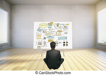 business concept - businessman sitting on floor and looking...