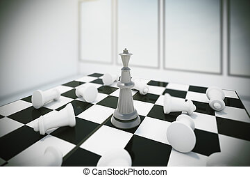 black king and white chess pieces losers, 3d rendering