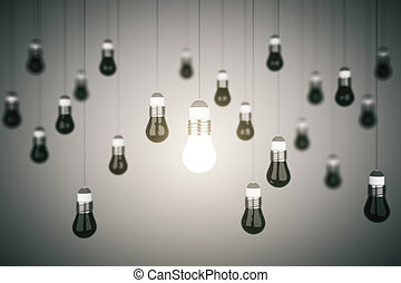 many lightbulb, business idea concept. 3d rendering