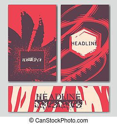 Set of the grunge card templates. - Set of the grunge card...