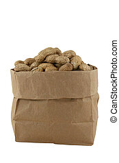 Peanuts in a bag - Islolated peanuts in a brown bag