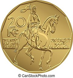 vector gold Money twenty czech crones coin - Gold money,...