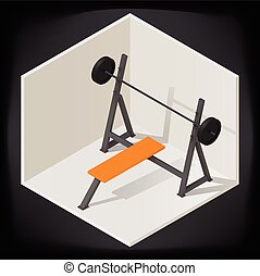 Bench press vector isometric illustration - Bench press for...