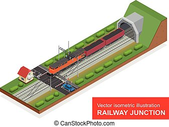 Vector isometric illustration of a railway junction. Railway...