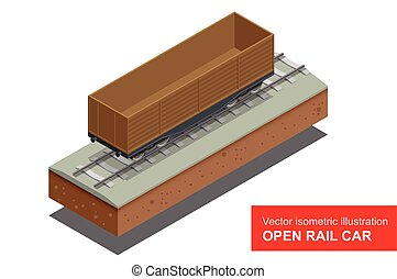 Open rail car for transportation of bulk cargoes. Rail...