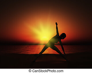 3D female in yoga pose at sunset