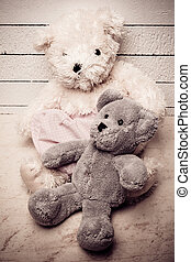 Teddy bears sitting on white wooden floor with nice...