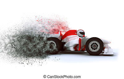 3D Racing card with speed effect - 3D render of a generic...