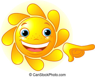 Cute Sun pointing - Cute and shiny Sun points a finger at...
