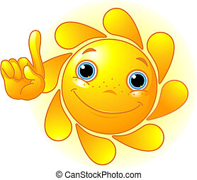 Cute Sun pointing up - Cute and shiny Sun points a finger at...