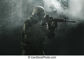 nosotros, ejército, soldado, en, el, Lluvia,