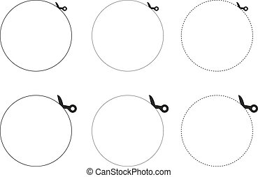 3 collections of vector scissors cutting out circle - 3 sets...