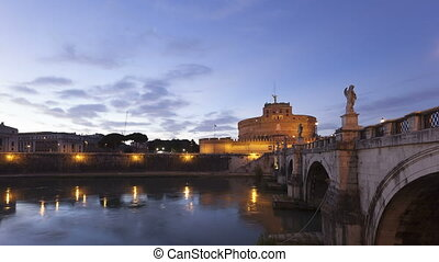 4K Time lapse twilight Rome Castel Sant Angelo