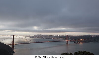 4K Time lapse sunrise Golden Gate Bridge with San Francisco...