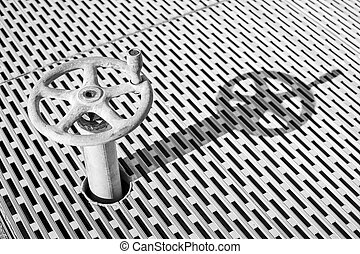 Old dusty metal wheel with pattern background