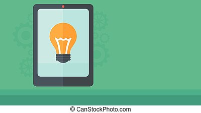 Background of digital tablet with lightbulb. - Background of...