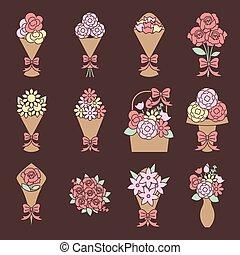 flower bouquet icons set