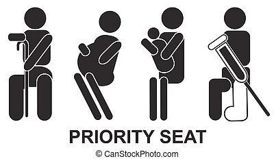 Priority seats - Priority, seats, sign, black