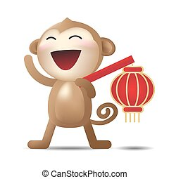 Chinese New Year monkey character Vector