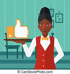 Waitress with like button. - An african-american waitress...