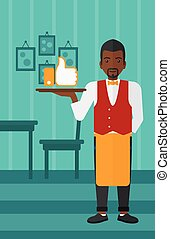 Waiter with like button - An african-american waiter...